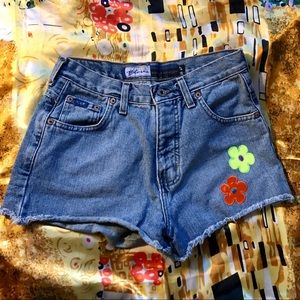 Vintage Express Denim Shorts with Neon Patches
